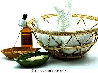 Thai Spa Herbal Massage Set in Tray on White Background