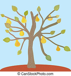 Pear tree at the autumn card