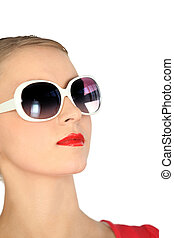 Woman with modern sunglasses
