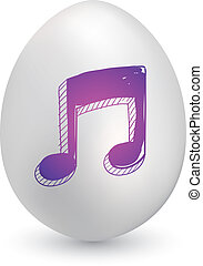 Music notes egg - Doodle style music notes sketch on...