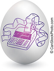 Tax day egg - Doodle style accountant's adding machine...