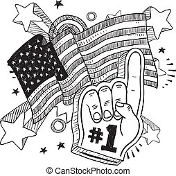 Anmerican patriotic sketch - Doodle style foam finger that...