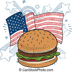 American hamburger sketch - Doodle style hamburger with bun...