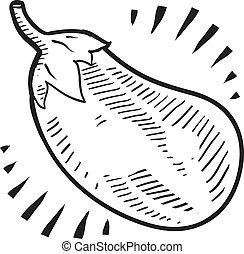 Eggplant sketch - Doodle style fresh, juicy eggplant...