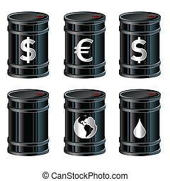 Oil barrels illustration - A detailed vector set of glossy...