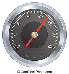 Gauge or meter illustration. Could be a pressure or water...
