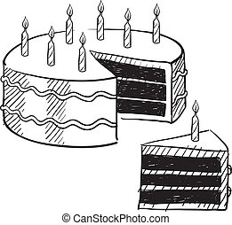 Birthday cake sketch - Doodle style birthday cake and cake...