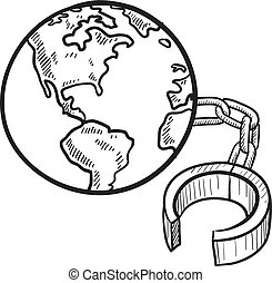 Chained to the earth sketch - Doodle style global ball and...