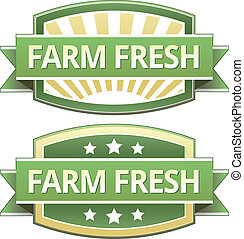 Farm fresh food label, badge or seal with green and yellow...