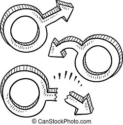 Sexual dysfunction sketch - Doodle style male gender symbols...