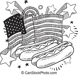 American hot dog sketch - Doodle style American flag with...