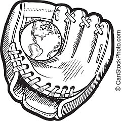Global baseball sketch - Doodle style baseball mitt with...