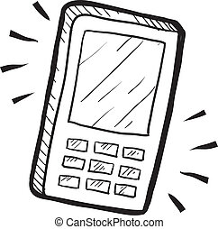 Mobile phone sketch - Doodle style mobile phone or...