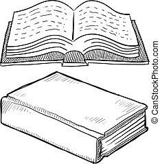 Book or bible sketch - Doodle style book or library vector...