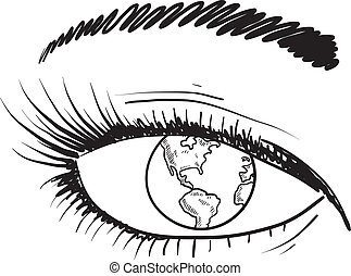 Global eye sketch - Doodle style global eye sketch in vector...