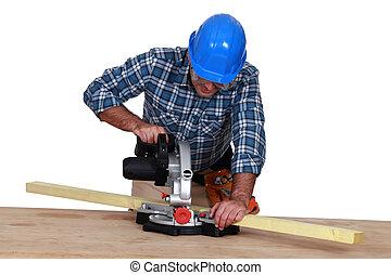 woodworker, usando, miter, serra