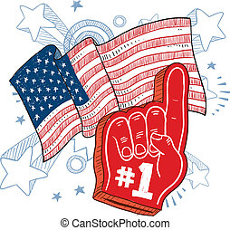 America is 1 sketch - Doodle style foam finger that says 1...