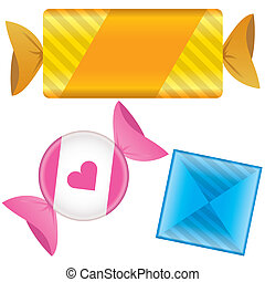 Soft candy vector illustration - Soft candy in wrapper...