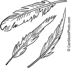 Feathers sketch - Doodle style bird feathers illustration in...
