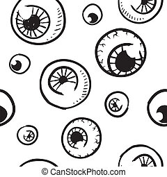Seamless eyeball vector background - Doodle style seamless...
