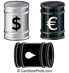 Oil barrel sketch - Oil barrel icon set Vector illustrations...