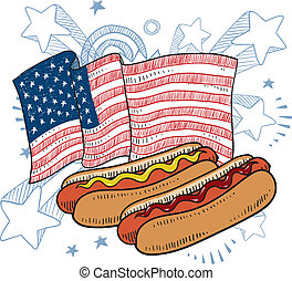 American hot dog sketch - Doodle style hot dog with bun and...