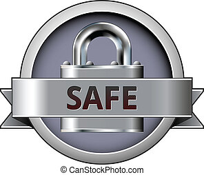 Safe vector badge - Safe vector button on stainless steel...