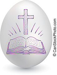 Bible and cross easter egg - Doodle style Christian cross...