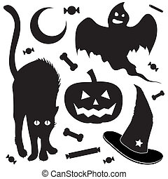 Halloween objects sketch - Halloween design elements...