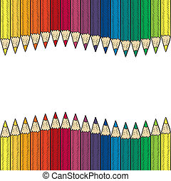 Seamless colored pencil border - Doodle style seamless...