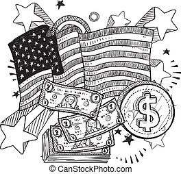 American money sketch - Doodle style coins and dollar bills...