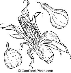 Thanksgiving gourds and corn - Doodle style autumn harvest...