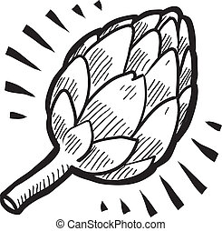Artichoke vector - Doodle style fresh artichoke illustration...