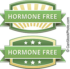 Hormone free food label, badge or seal with green and yellow...