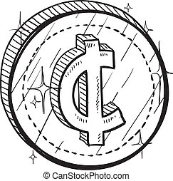 Cent currency symbol coin vector - Doodle style coin with...