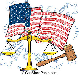American justice vector - Doodle style courtroom objects...