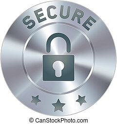 Secure badge - Stainless steel vector secure icon or button....