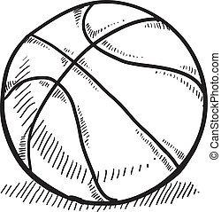 Basketball sketch - Doodle style basketball vector...