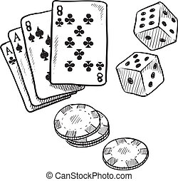 Gambling objects sketch - Doodle style gambling vector...