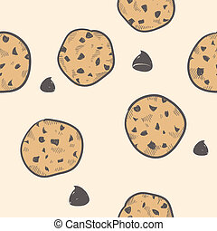 Seamless cookie background - Doodle style seamless cookie...