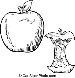 Apple and apple core sketch - Doodle style apple and apple...