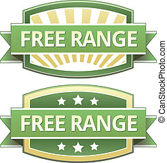 Free range food label, badge or seal with green and yellow...