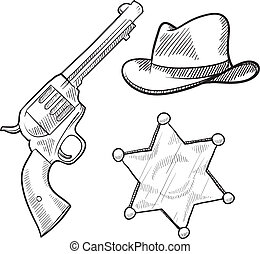 Wild west sheriff objects sketch - Doodle style wild west...