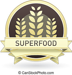 Superfood food label, badge or seal with brown and tan color...