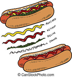 Hot Dog with condiments sketch - Doodle style hot dog with...