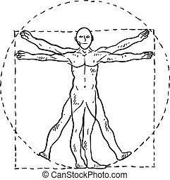 Da Vinci Vitruvian man sketch