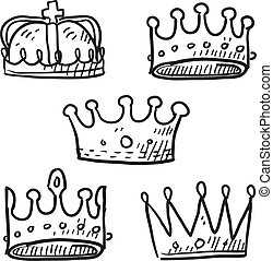 Royal crowns sketch - Doodle style set of royal crowns in...