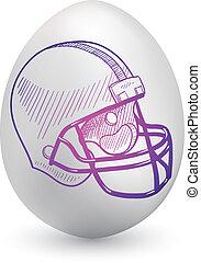 Football helmet on easter egg