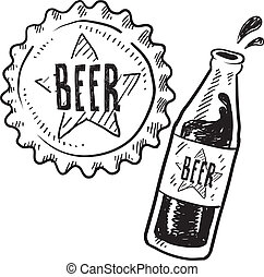 Beer bottle and cap sketch - Doodle style beer bottle and...