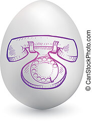 Retro telephone on easter egg - Doodle style retro telephone...
